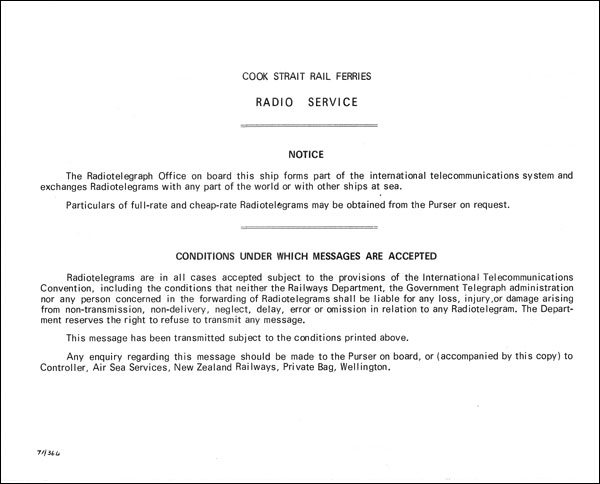 Reverse side of the Radiogram form