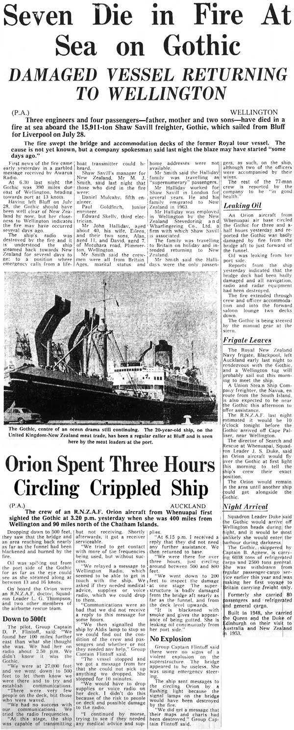 Seven die in fire at sea on Gothic