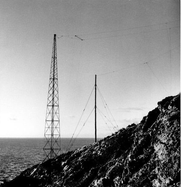 Radio aerials at Brothers Island lighthouse