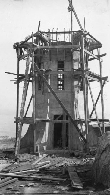 Baring Head Lighthouse under construction, March 1934