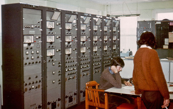 Telegraph receivers for 50 baud teletype circuits patched to the various overseas embassies in Wellington