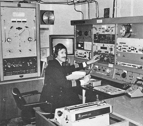 Radio Officer Ken Grace aboard Aratika in 1981