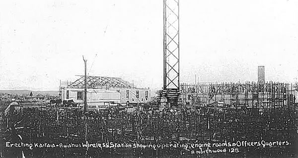 Operating room, engine house and officers quarters under construction at Awanui wireless station, 1912