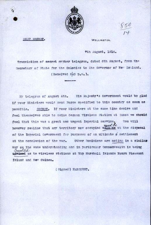 1914 - NZ asked to seize Apia wireless station