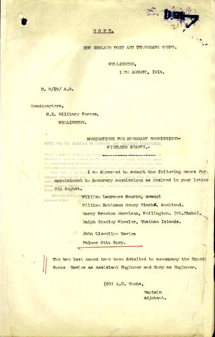 1918 - military commissions for NZPO staff
