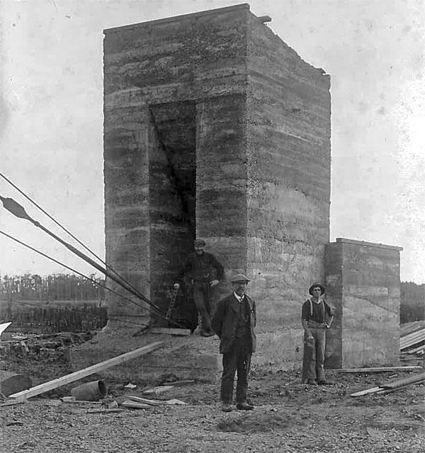 One of three concrete  anchor blacks for the Awanui tower guys