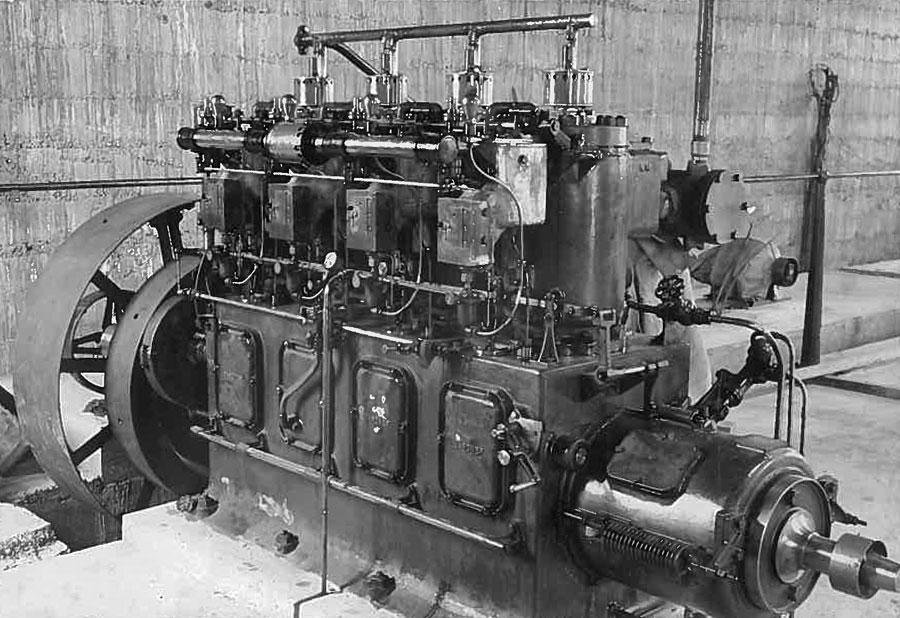 The 75hp Gardner petrol-kerosene engine that drove the 30kW alternator