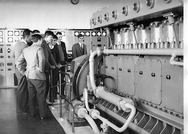 Admiring one of the two Mirrlees 2TL8 diesel engines, which produced 396bhp at 500rpm to drive a 300kVA alternator