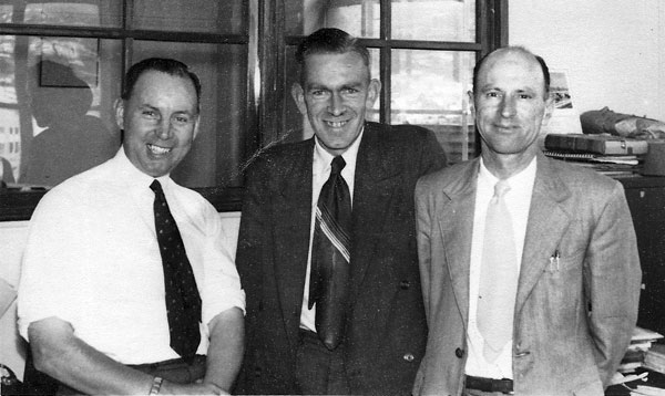 Wellington radio technicians, possibly late 1950s. Ray Allsop at right.