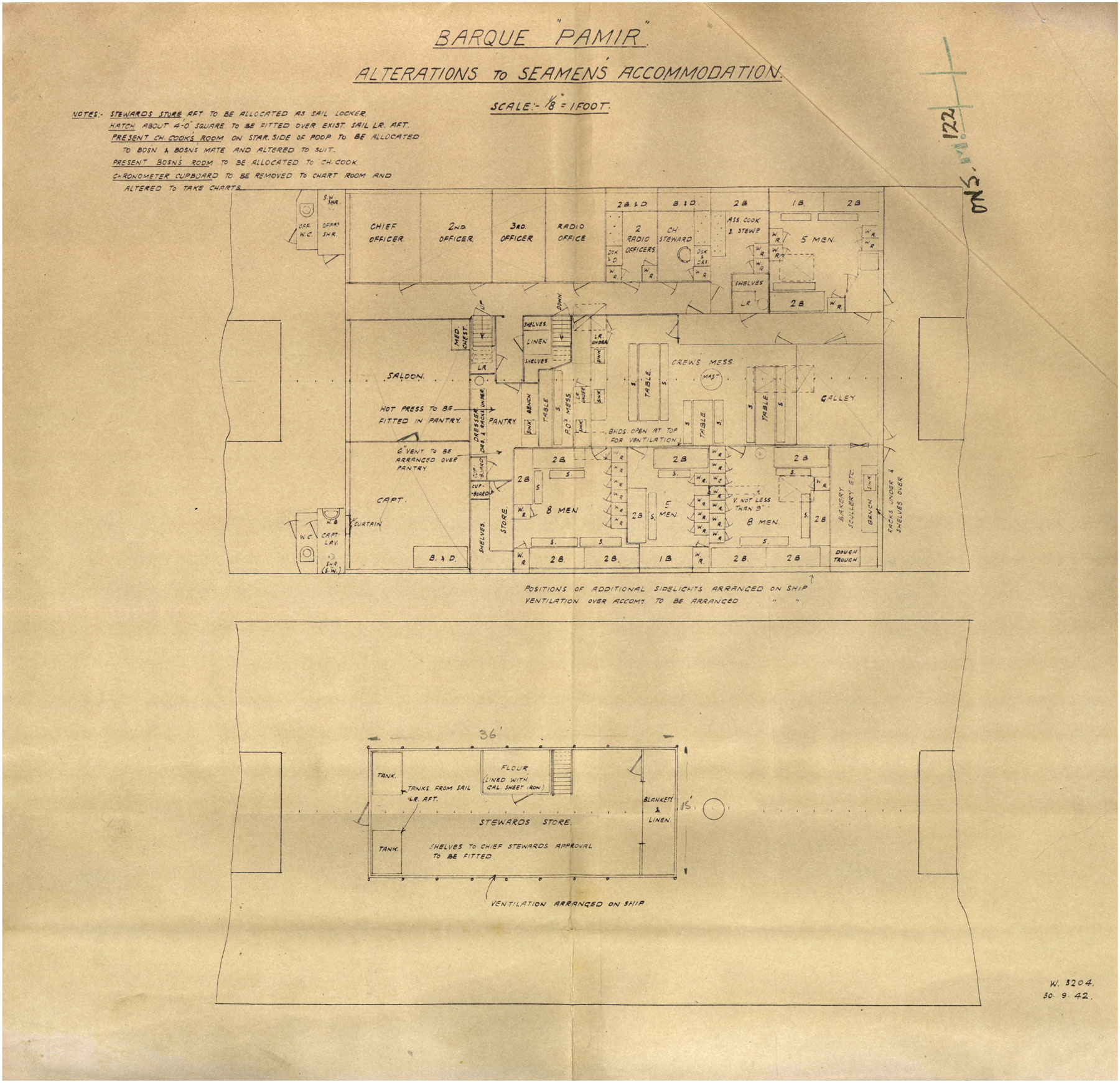 A plan, from September 1942, for alterations to the accommodations aboard the barque Pamir.