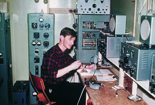Radio operator Peter Mulgrew during the 1956-1958 season at Scott Base