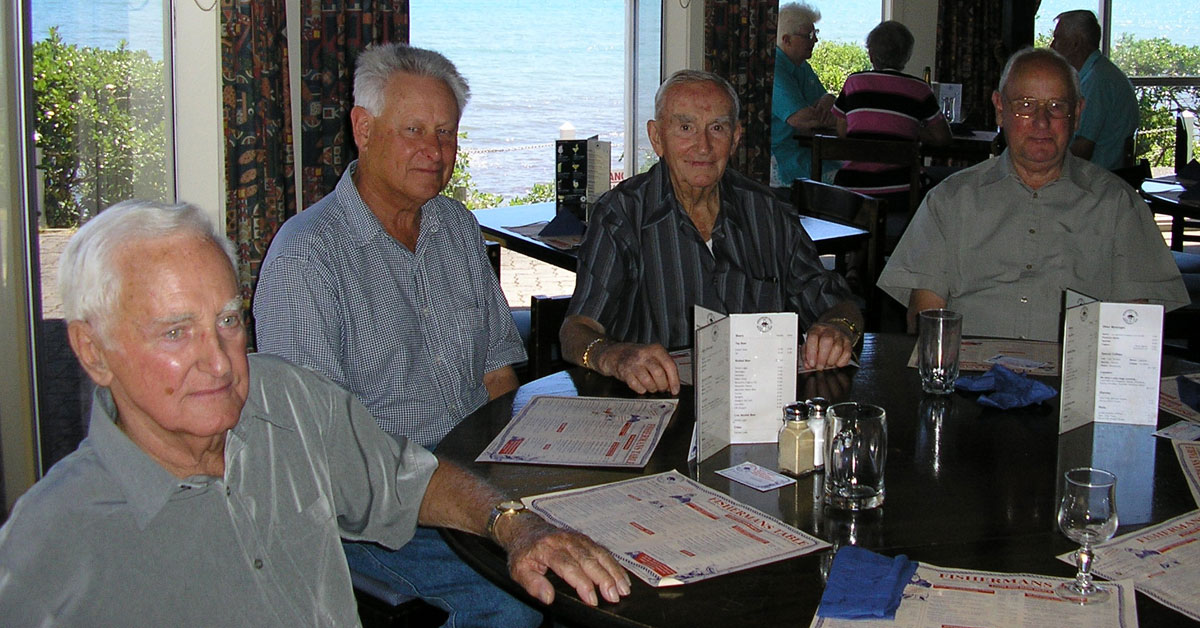 20 February 2005: George King, John Duncan, Jack Ryan and Joe Collett at a quarterly lunch for radio colleagues at the Fisherman's Table in Paekakariki