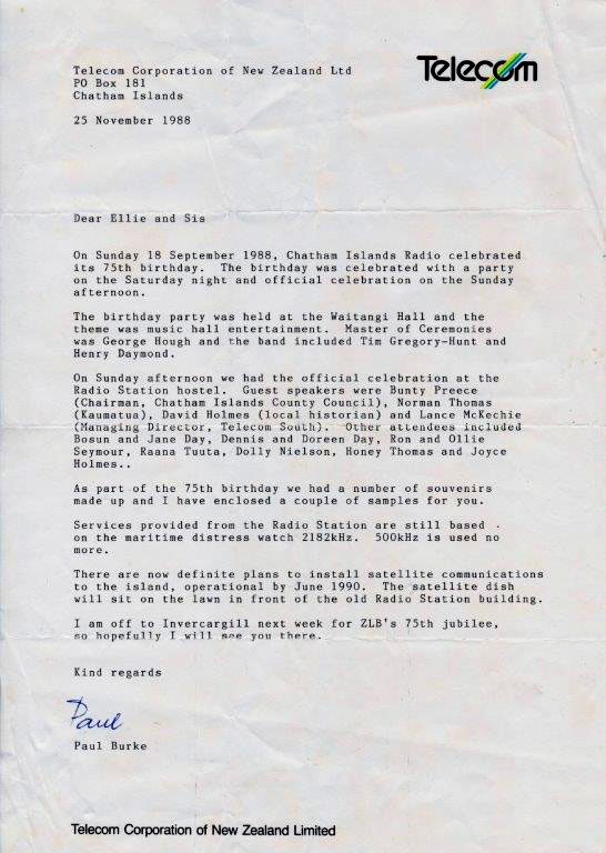 Letter from Chatham Islands Radio manager Paul Burke to former Awarua Radio manager Ellie Ellenden
