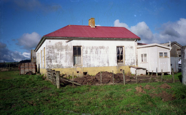 West side of the Awanui Radio operating building with the engine house just visible in the background at left