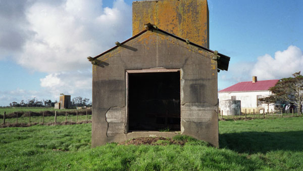 Probably the southwestern anchor block for the Awanui tower, with the operating building in the background