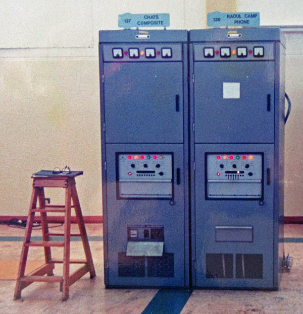 Redifon transmitters for Chatham Islands and Raoul Island at Himatangi Radio, c1970