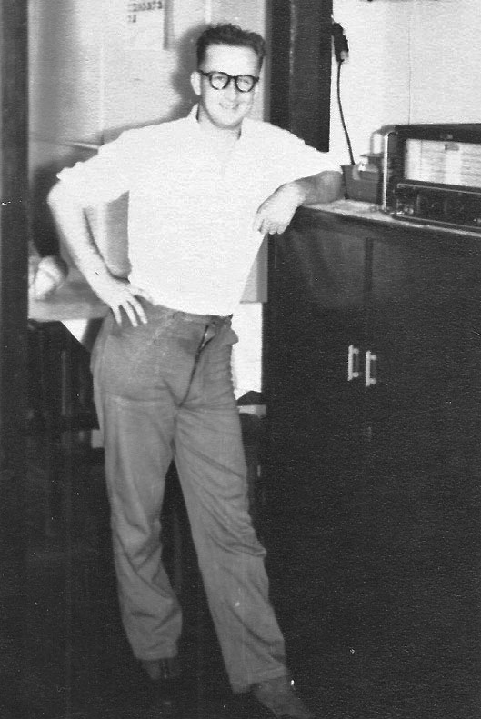 Clyde Williams with Eddystone 750 receiver at Chatham Islands Radio ZLC in 1956