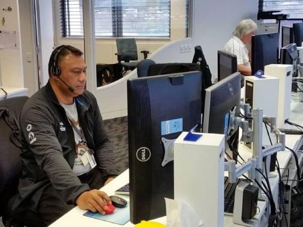 Radio operator Tevita Taufa of Nuku'alofa Radio A3A during training at the Maritime Operations Centre in Wellington, New Zealand in 2016