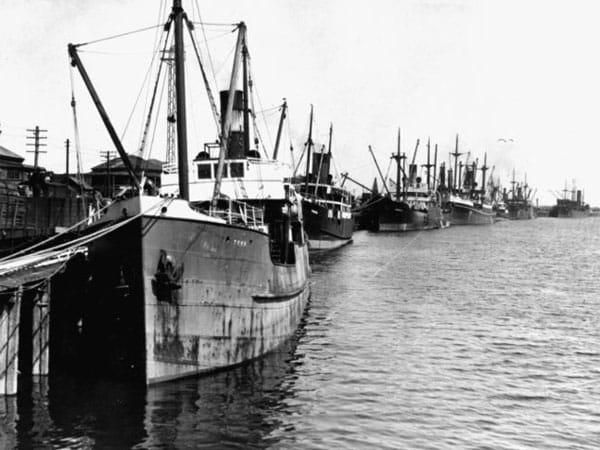 Ships at Greymouth wharf, circa 1924. 'Tees' is in the foreground, followed by 'Pakura' and 'Gabriella'.