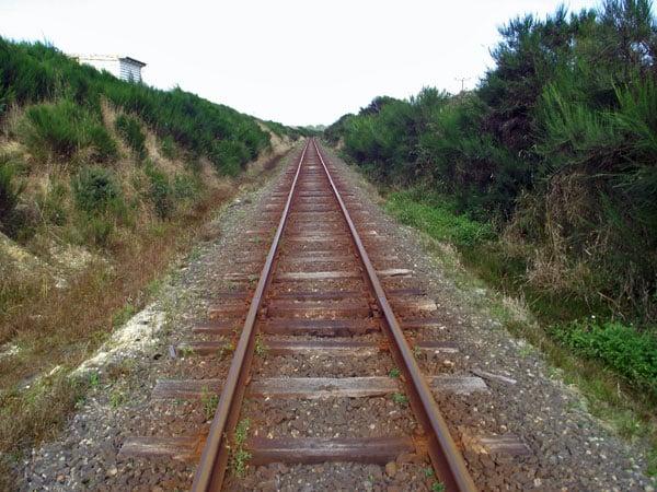 Railway line opposite the entrance to the Awarua Radio site