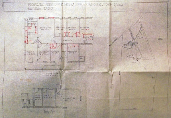 Plan of alterations to main station building at Awarua Radio in 1940
