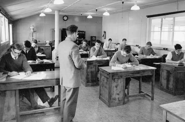 Keith Surridge (instructor) with students at the Trentham radio training school in 1961.