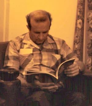 Colin Wickham in Tony's cabin aboard Ceramic