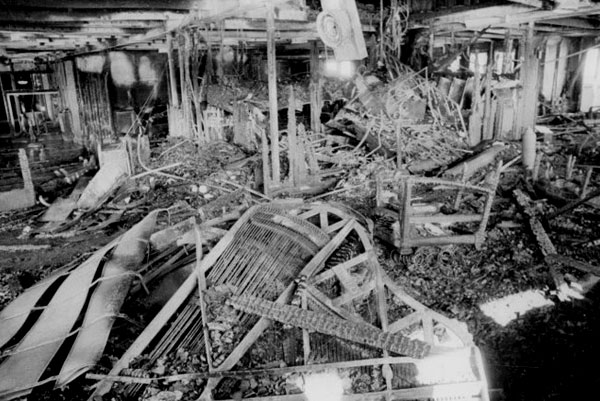 The dining room aboard Gothic after the fire