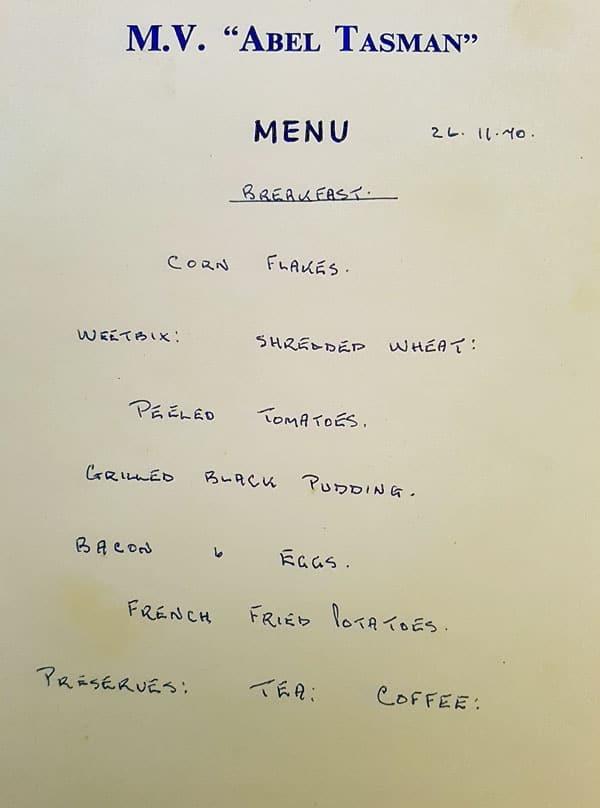 Crew menu for the ship MV Abel Tasman 1970