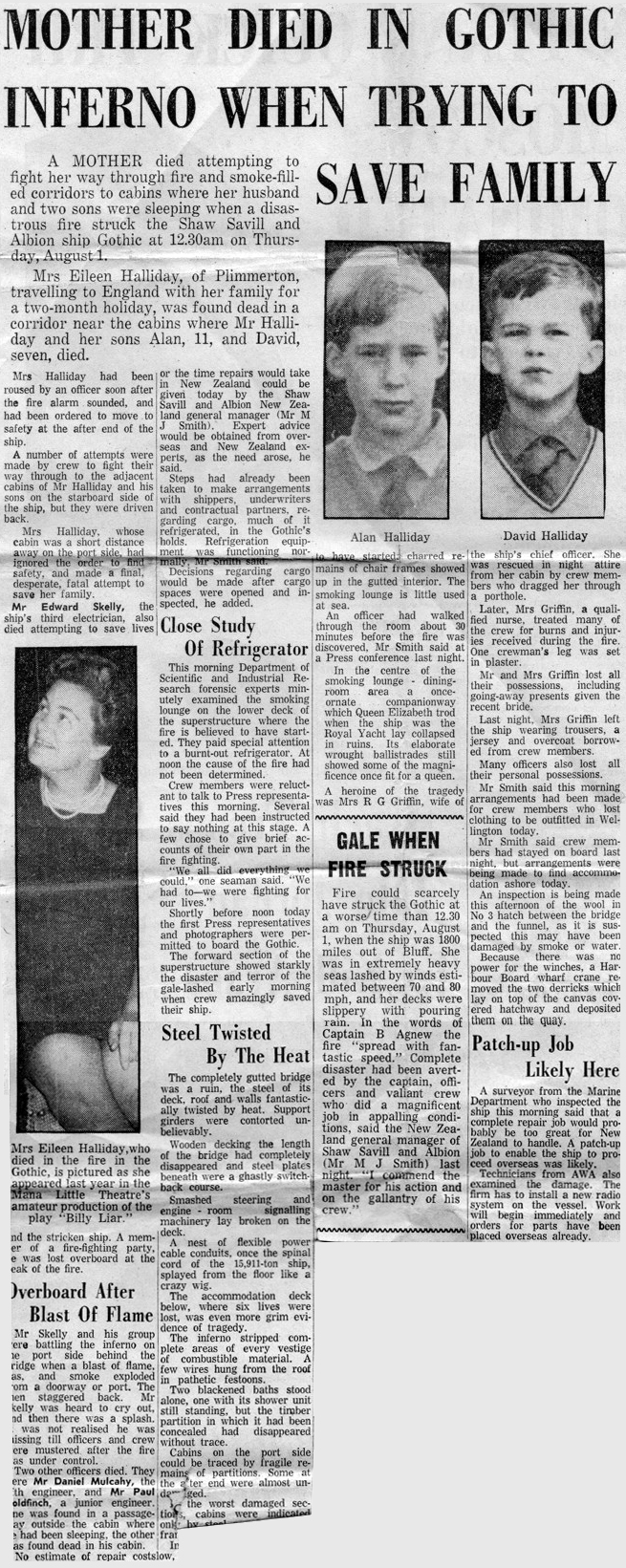 News report of fire aboard SS Gothic