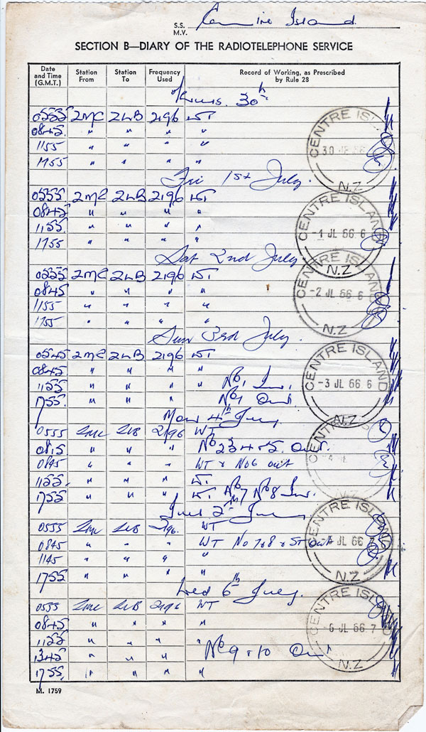Radio log maintained at Centre Island Lighthouse, July 1966