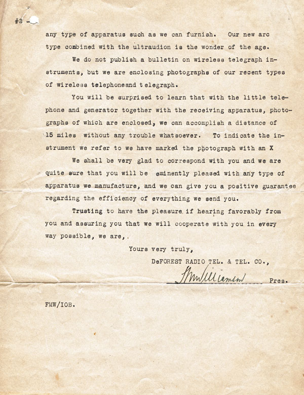 Letter from De Forest company to NZ Post and Telegraph Department, 1915, p2