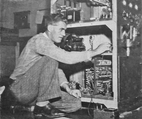 Senior technician Jack Hogan making installation tests of a 'fan marker' transmitter at Auckland Radio in 1949