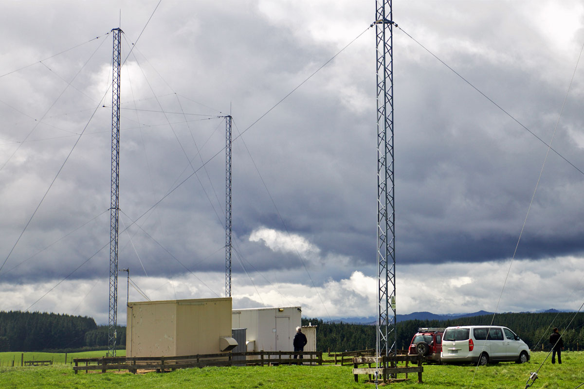 Receiver huts for DSC (left) and voice at Taupo Radio Goudies Rd site