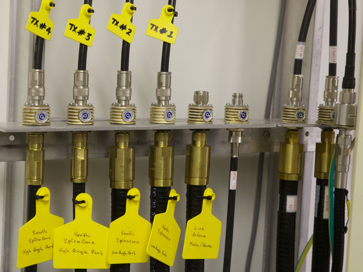 Antenna connections at the ZLM transmitter site, Oct, 2016