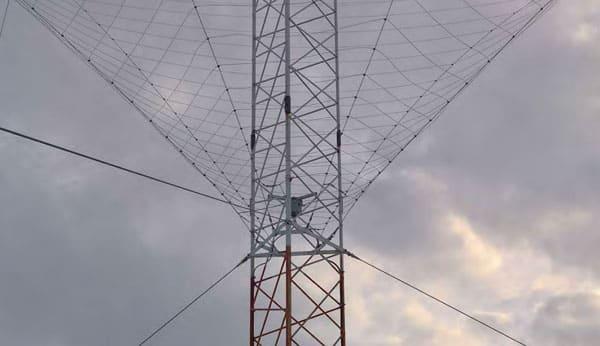 The repaired spiracone antenna at Taupo Radio ZLM's Matea site