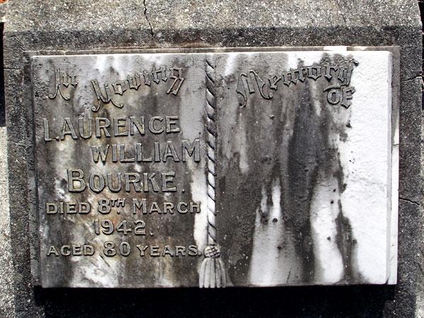 Grave of Laurence William Bourke, Hillsborough Cemetery, Auckland