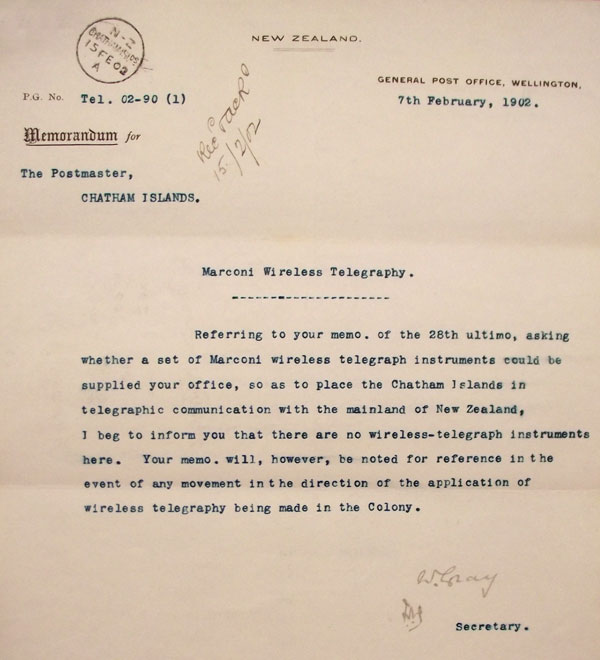 Letter to the Chatham Islands Postmaster in 1902