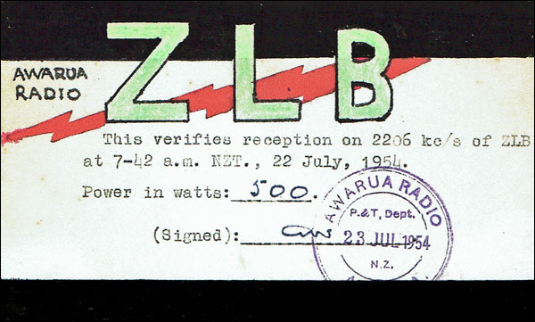 QSL card for Awarua Radio ZLB