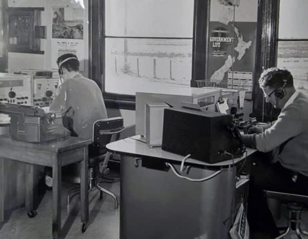 Operators at Awarua Radio: Barry Munro, Joe Collett