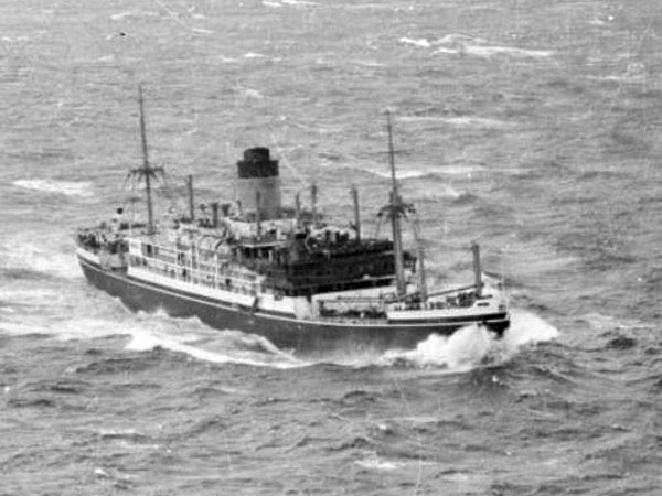 The fire-blackened SS Gothic off Cape Palliser. New Zealand