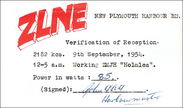 QSL card confirming reception of New Plymouth Harbour Radio working Holmlea on 2186kHz in 1954