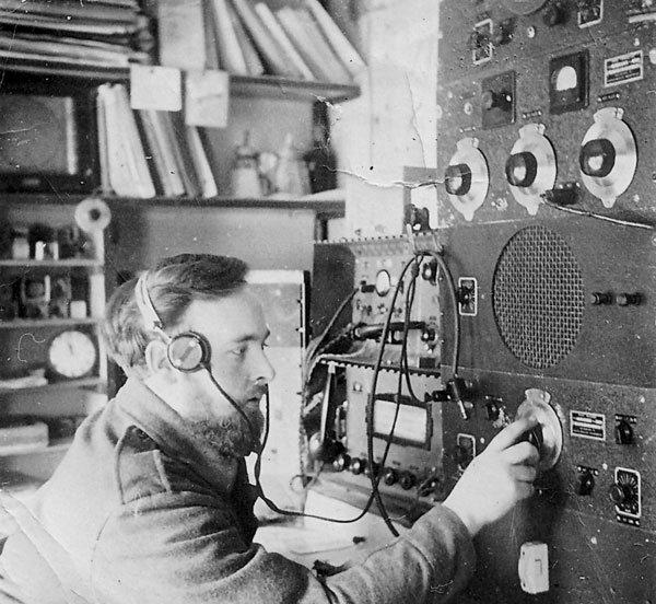 Campbell Island Radio, 1951: Doug at the controls.