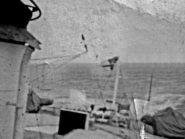 Aboard HMNZS Kaniere on the way to Campbell Island, 1951