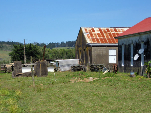 Concrete base for the 400-foot tower, engine house and operating building at Awanui Radio