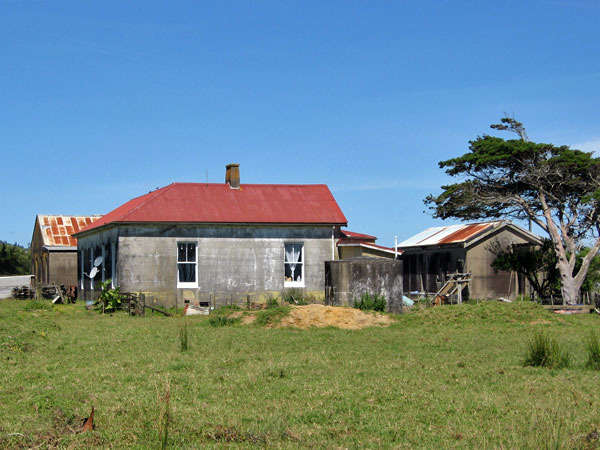 Original 1913 buildings at Awanui Radio, L-R: engine house, operating building, storage building