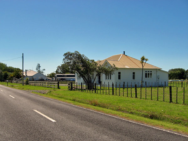 Officers' Quarters and, in the distance, the residence of the Officer in Charge at Awanui Radio