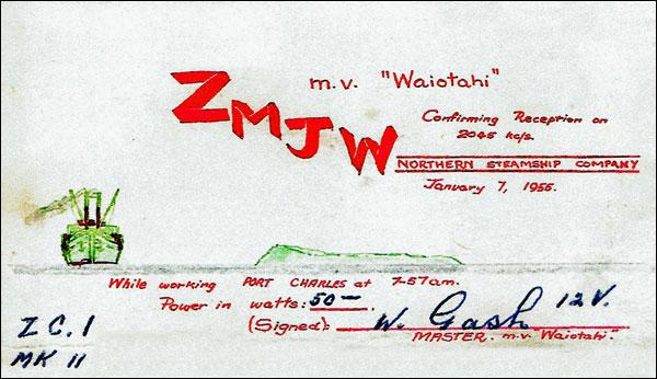 QSL card confirming reception of MV Waiotahi on 7 Jan 1955