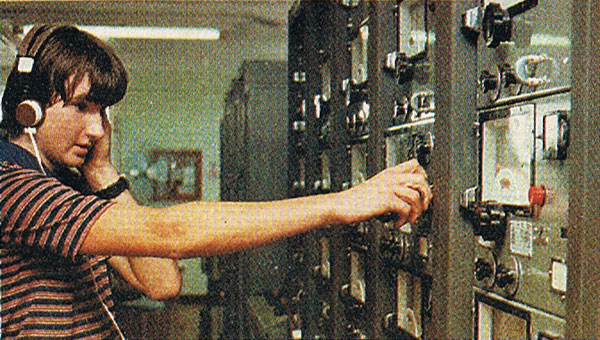 Trainee technician Graeme Priddle at Makara Radio, 1978