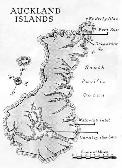 Map of Auckland Islands